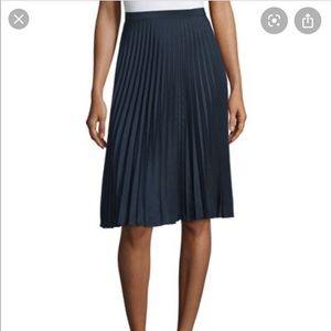 Michael Kors  plated midi navy blue skirt